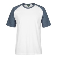 C OF C TWO TONE TEE WHITE/DENIM MARLE  2XS - 5XL