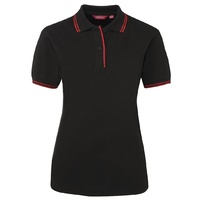 JB's LADIES CONTRAST POLO BLACK/RED 08-24