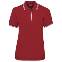 JB's LADIES CONTRAST POLO RED/WHITE 08-24