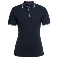 JB's LADIES CONTRAST POLO NAVY/LT BLUE 08-24