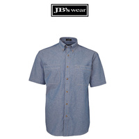 JB's S/S CHAMBRAY SHIRT - BLUE/TAN
