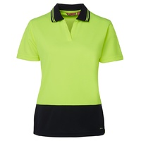JB's HV 4602.1 LADIES S/S NON BUTTON POLO LIME/NAVY