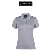 PDM LADIES JACQUARD CONTRAST POLO LT GREY/WHITE D