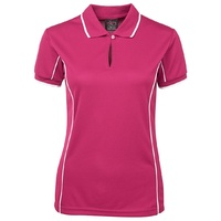 PODIUM LADIES PIPING POLO PINK/WHITE 08-24 ( 7LPI )