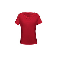 LADIES AVA DRAPE KNIT TOP - RED K625LS
