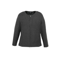 LADIES 2-WAY ZIP CARDIGAN - CHARCOAL LC3505