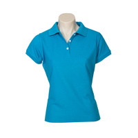 LADIES NEON POLO SHIRT CYAN BLUE P2125 SZ 6 - 24