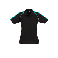 LADIES TRITON POLO BLACK/TEAL/WHITE P225LS