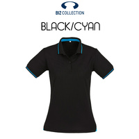 LADIES JET POLO STEEL BLACK/CYAN BLUE P226LS