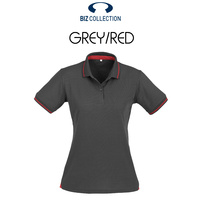 LADIES JET POLO STEEL GREY/RED P226LS