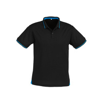 MENS JET POLO BLACK/CYAN BLUE P226MS