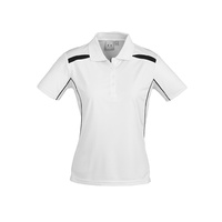 LADIES UNITED SHORT SLEEVE POLO SHIRT WHITE/BLACK P244LS