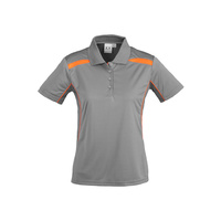 LADIES UNITED SHORT SLEEVE POLO SHIRT ASH/FLUORO ORANGE P244LS