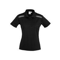 LADIES UNITED SHORT SLEEVE POLO SHIRT BLACK/ASH P244LS