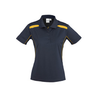 LADIES UNITED SHORT SLEEVE POLO SHIRT NAVY/GOLD P244LS