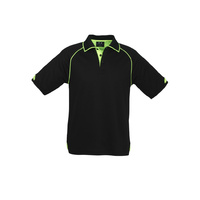 MENS FUSION POLO SHIRT BLACK/FLURO LIME P29012