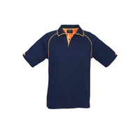 MENS FUSION POLO SHIRT NAVY/FLURO ORANGE P29012