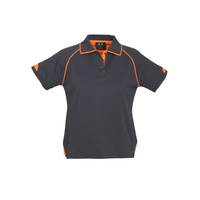 LADIES FUSION POLO SHIRT GREY/FLURO ORANGE P29022
