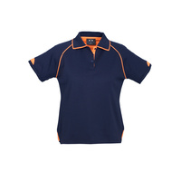 LADIES FUSION POLO SHIRT NAVY/FLURO ORANGE P29022