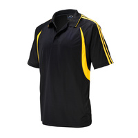 MENS FLASH POLO SHIRT BLACK/GOLD P3010