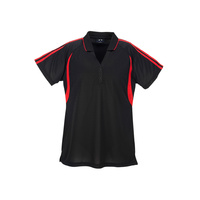 LADIES FLASH POLO BLACK/RED P3025