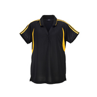 LADIES FLASH POLO BLACK/GOLD P3025