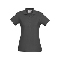 LADIES CREW POLO SHIRT CHARCOAL P400LS SZ 8 - 24