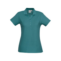 LADIES CREW POLO SHIRT TEAL P400LS SZ 8 - 24