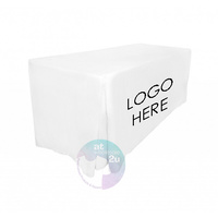 FITTED TABLE CLOTH with LOGO WHITE