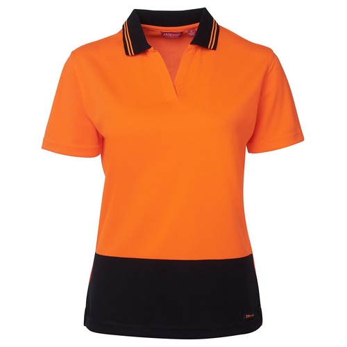 JB's HV 4602.1 LADIES S/S NON BUTTON POLO  ORANGE/NAVY 8