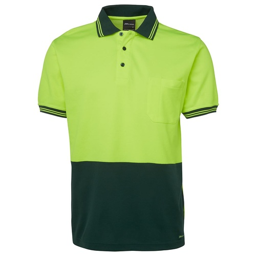 JB's HV S/S COTTON BACK POLO  LIME/BOTTLE XS