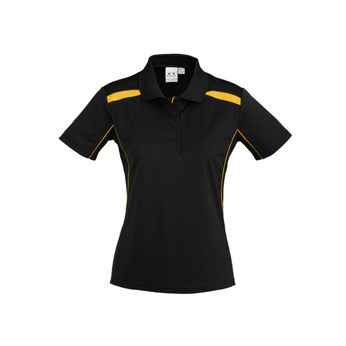 LADIES UNITED SHORT SLEEVE POLO BLACK/GOLD P244LS 14